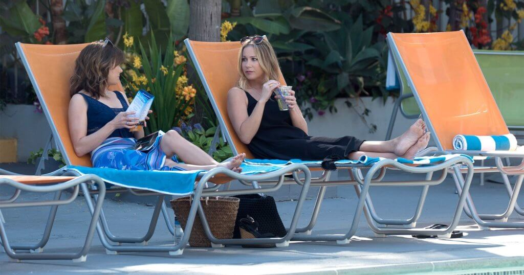 Christina Applegate portraying her Netflix series 'Dead to Me' character Jen Harding alongside co-star Linda Cardellini who plays Judy