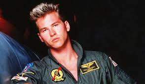 Val Kilmer posing as his 'Top Gun' character Iceman