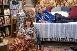 Christina Applegate alongside her co-star Linda Cardellini as they portray their characters in the Netflix series 'Dead to Me'