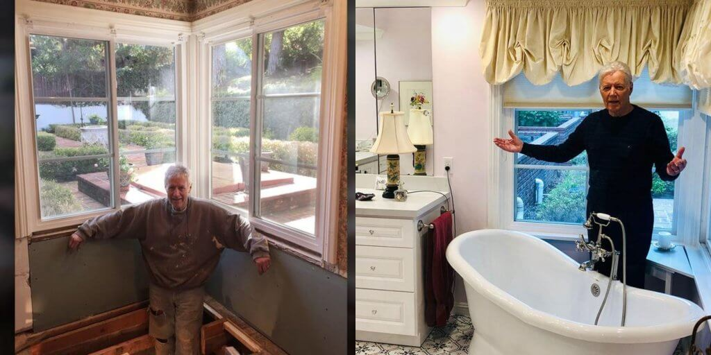 Alex Trebek shown on the left when he was renovating his bathroom and the right shows what his bathroom looked like after all the work