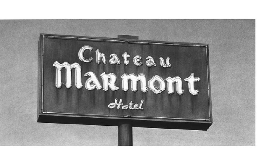 "Charcoal drawing from ""Deep Focus"" of Chateau Marmont by Eric Nash"