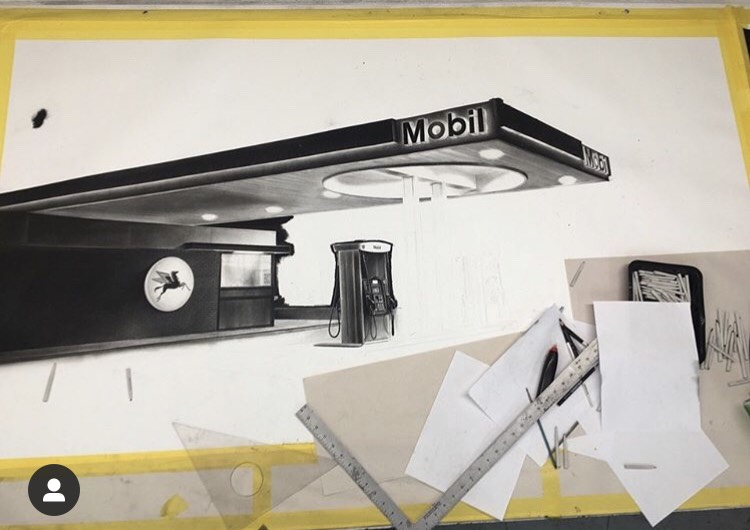 Eric Nash showing art of Mobil gas station
