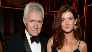 Alex and Jean Trebek posing at an event