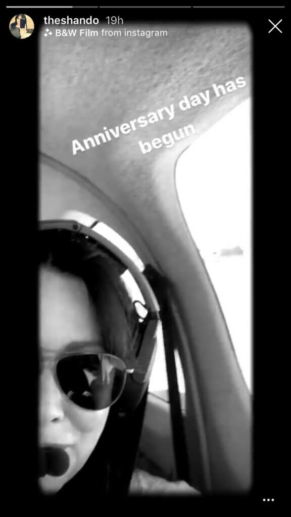Shannen Doherty posting on her instagram story about her anniversary with her husband, documenting the different activities for their anniversary