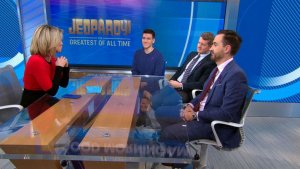 "Three all-time best 'Jeopardy!' champions James Holzhauer, Ken Jennings, and Brad Rutter on ""GMA"" wearing purple ribbons in support of Alex Trebek's cancer journey"