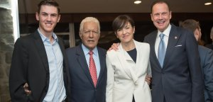 Alex Trebek pictured with Daniel Nuñez and the Fordham Awards' hosts, Madeline McFadden-Nuñez and Armando Nuñez as Alex and Jean Trebek Receive Fordham Founder's Award