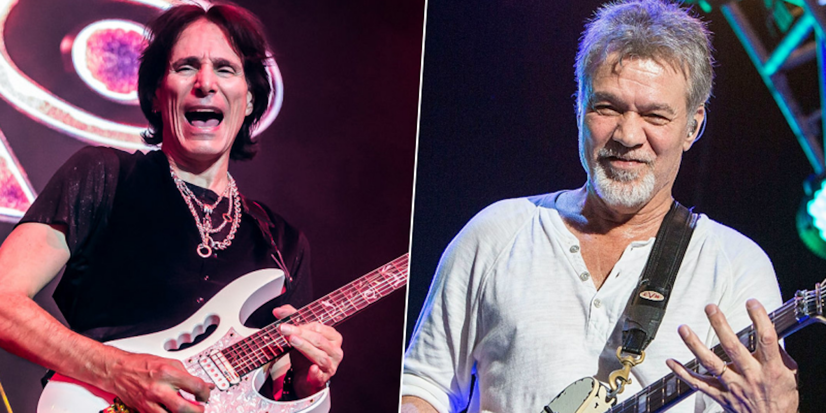 Steve Vai and Eddie Van Halen depicted in different photos each playing guitars