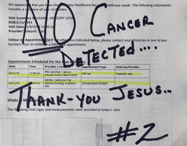 Gregg Leakes Cancer Results